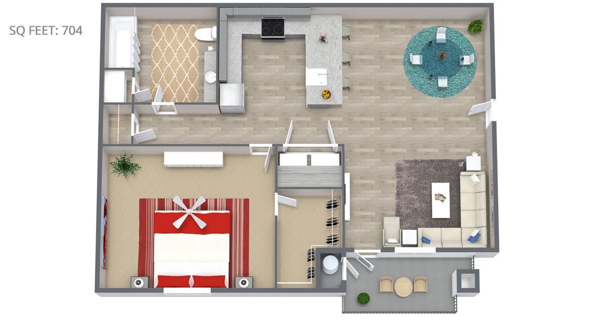 1 Bedroom Floorplan 704