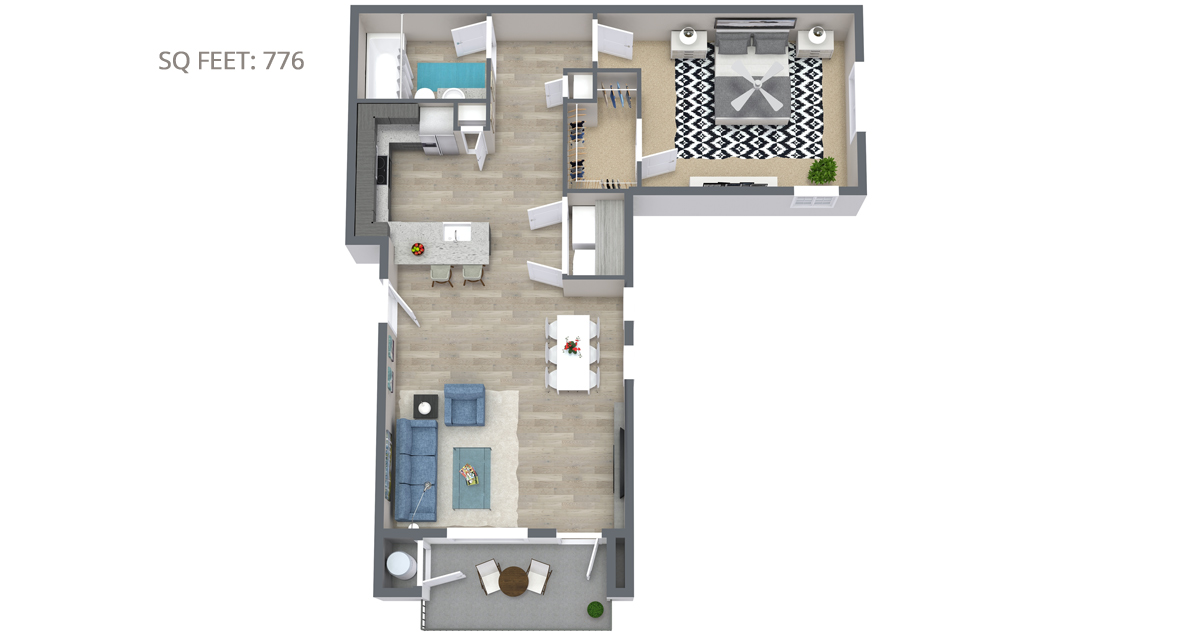 1 Bedroom Floorplan 776