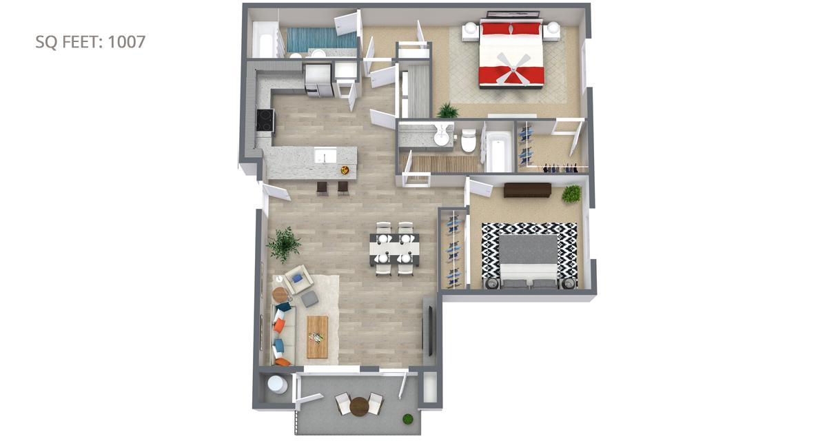 2 Bedroom Floorplan 1007