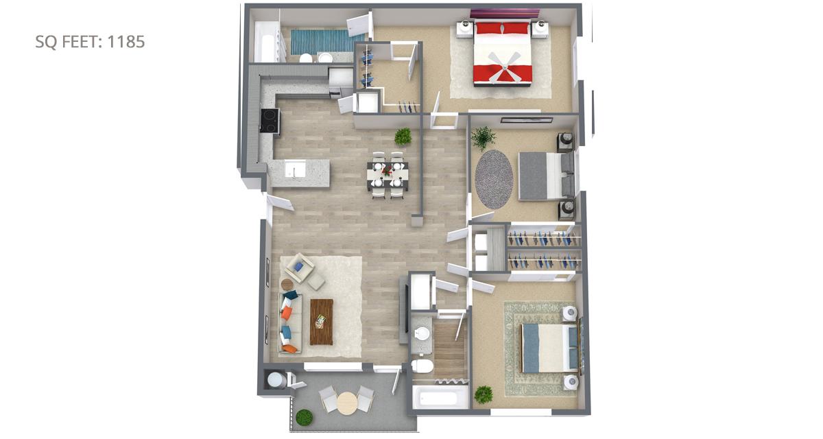 3 Bedroom Floorplan 1185